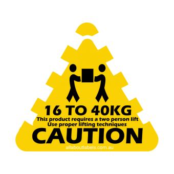 16kg - 40kg Weight Warning Labels